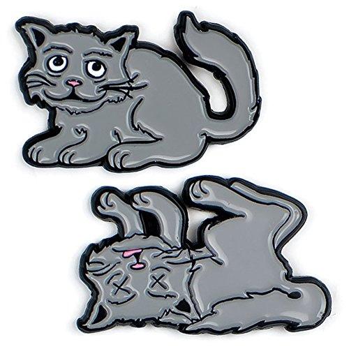 The Unemployed Philosophers Guild Schrodinger's Cat Enamel Pin Set - 2 Unique Colored Metal Lapel Pins