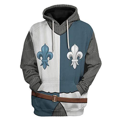 Medieval Royalty Cavalier Armor Heraldic Knight Costume 3D Printed Pullover Hoodie Sweatshirt, (French Cavalier hoodie, XXL)