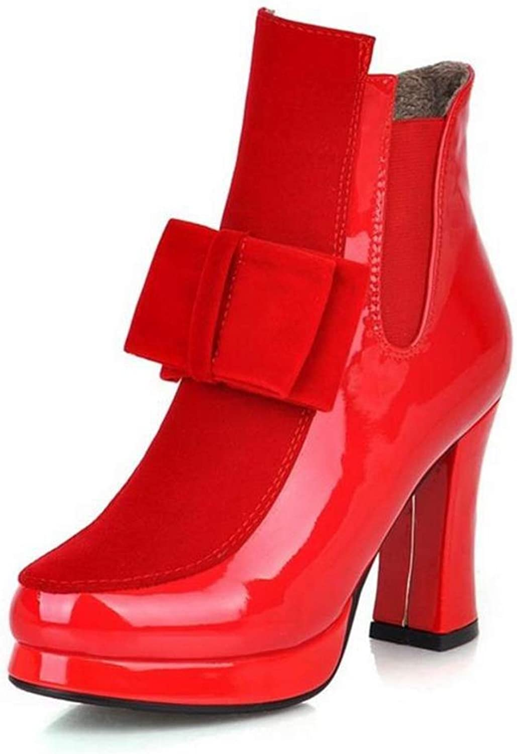 T-JULY Women Patent Leather High Heel Mid Calf Boots Platform Sexy Bowtie Warm Winter Boot Footwear shoes Size 34-43