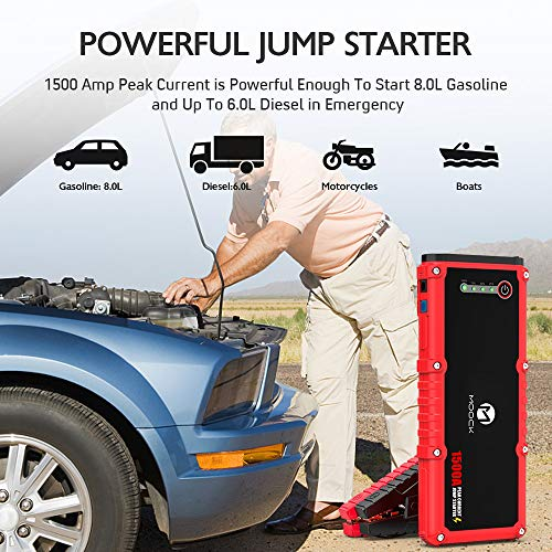 MOOCK Car Jump Starter, 1500A Peak 20800mAh 12V Auto Battery Booster(Up to 8.0L Gas & 6.0L Diesel Engine), Portable Battery Power Bank, Built-in LED Flashlight with Car Jumper Cables Heavy Duty