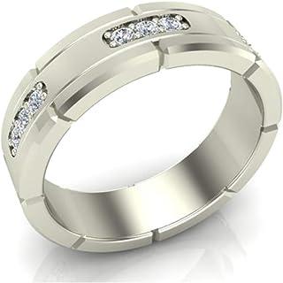 Men's Diamond Wedding Band Semi-Eternity Wedding Ring 18K Gold 0.45 (G,SI)