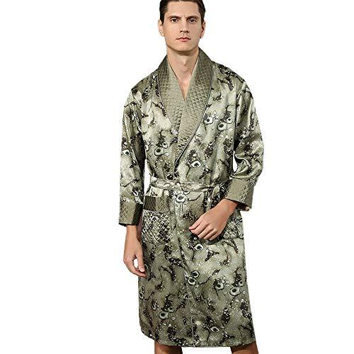 LZJDS Camisón de Seda 100% para Hombre Ropa de Dormir de Manga Larga Pijamas Bata de Seda de Gusano de Seda Ropa de Dormir de Doble Capa con cinturón Albornoz Bata Verde L-XXL,Verde,L