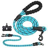 Mostfun Starke Hundeleine 4.9FT-9.8FT Doppelleine für 1 oder 2 Hunde mit Bequemen Gepolsterten Griff & Reflektierenden eignet für Alle Größe Hunde (Blau)