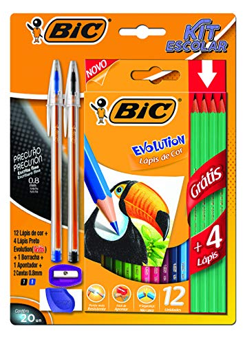 Kit Escolar, BIC, 12 Lápis de Cor + 4 Lápis Preto Evolution + 2 Canetas Cristal Dura + 1 Borracha + 1 Apontador