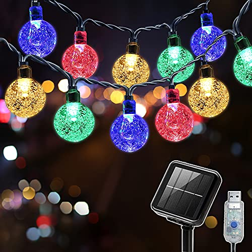 Solar String Lights Outdoor Garden 26Ft 50 LED Waterproof Globe 8 Modes Multi-Color Crystal Ball for Indoor Patio Yard Home Party Wedding Corridor Festival Decoration