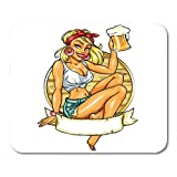 AOHOT Alfombrillas de ratón Retro Pretty Pin Up Girl Holding Beer Label Space Hot Tattoo Vintage Mou...