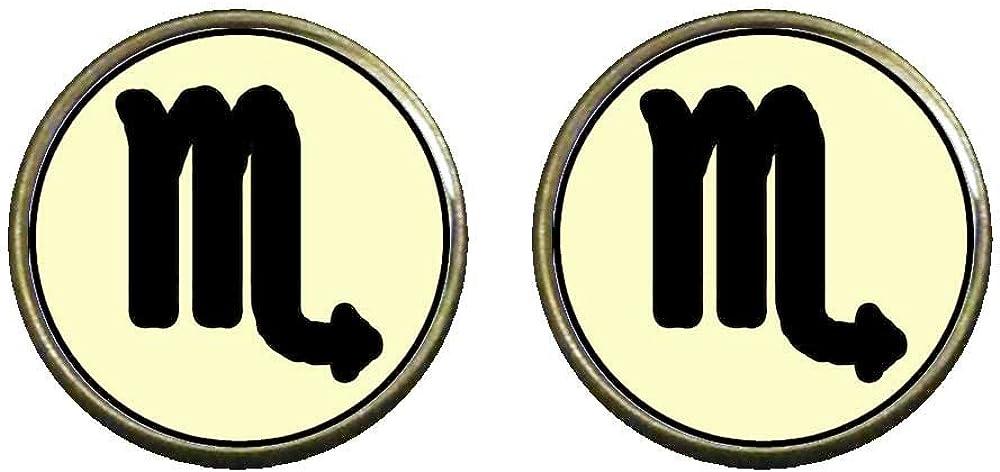 GiftJewelryShop Bronze Retro Style Scorpio Zodiac Photo Clip On Earrings 14mm Diameter