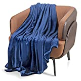 Fleece Blanket Throw Size Blanket Super Soft Flannel Blanket Light Weight Fuzzy Plush Couch Sofa Bed Blanket Microfiber All Seasons(Navy 50x60 inches)