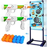 Gun Toy for 5 6 7 8 9 10 11 12 Years Old Boys Girls Best Kids Birthday Gift with Moving Shooting Target 2 Blaster Guns and 18 Foam Balls - Compatible with Nerf Toy Guns