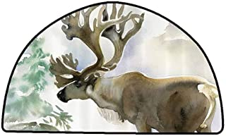 Outdoor Floor Mats Antlers Decor,Moose in Winter Forest Wildlife Reindeer Christmas Theme Watercolor Painting Style Art,Beige Green,W31 x L20 Half Round Rugs