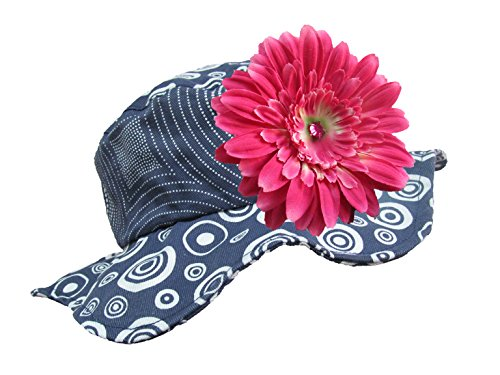 Jamie Rae Hats - Navy Blue Sun Hat with Candy Pink Daisy, Size: 4-6Y