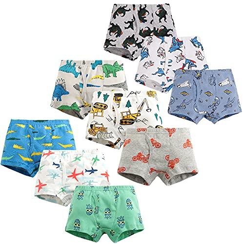 Qingzhuan Boys Boxershorts Cotton Briefs Kinder Unterwäsche Shorts Cotton Briefs Cartoon Briefs Pants 6-7 Jahre alt (Höhe 124.98-134.62 cm) -Packung mit 9