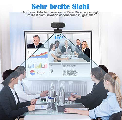 Webcam 1080P mit Mikrofon,HD Webcam für PC,Laptop,Desktop,MAC,USB 2.0 Computer Kamera Plug & Play mit Kameraabdeckung und Stativ,für YouTube,Skype,Videoanrufe,Konferenz,Spiele,Online Unterricht