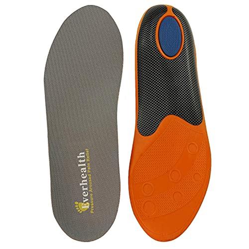 EVERHEALTH Plantillas de calzado con soporte de arco para correr/caminar/trabajar, plantilla ortopédica para fascitis plantar/pies planos