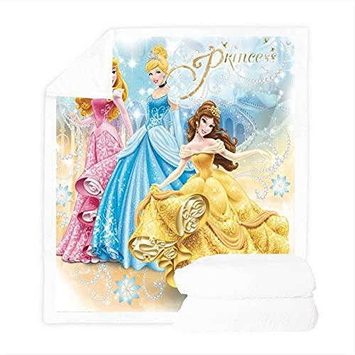 LWtiao-x Manta de forro polar con dibujos animados en 3D para niñas, diseño de princesas Disney (20,100 x 140 cm)