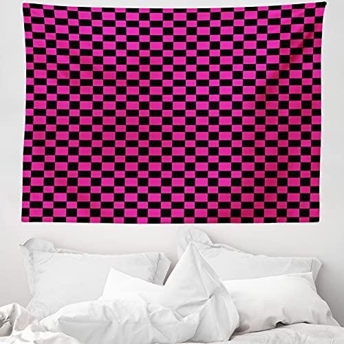 ABAKUHAUS Hot Pink Wandteppich & Tagesdecke, Vichy-Karos Vibrant, aus Weiches Mikrofaser Stoff Wand Dekoration Für Schlafzimmer, 150 x 110 cm, Magenta Schwarz