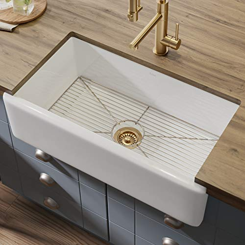 Kraus KFR1-33GWH Turino 33-inch Fireclay Farmhouse Apron Reversible Single Bowl Kitchen Sink...
