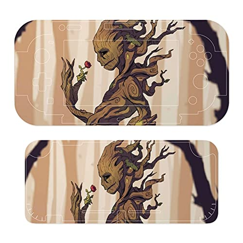 Movie Groot Stickers Decals Cover for Switch Lite Gaming Skin Compatible for Switch Controller,Full Set Wrap Protective Faceplate Console Screen Protector