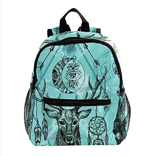 Rucksack 3-8 JahrePreschool Backpack for Children Aged 3-8 Hirsch Tier Traumfänger Federn 25.4x10x30cm