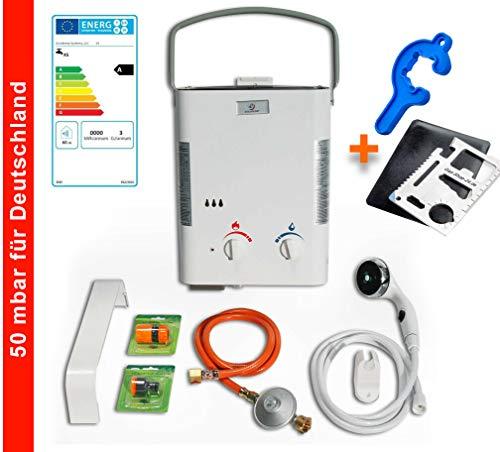 Warmwasser Propan Gas Durchlauferhitzer Boiler Therme Eccotemp 50 mbar/Outdoor Camping L5 (Gastherme) + ZUBEHÖR - für den deutschen Markt!!!
