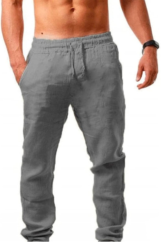 ShallWe Men's Cotton Casual Long Pants Loose Fit Elastic Waist Lightweight Summer Beach Jogger Trousers