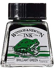 Winsor & Newton 1110030 Kalligrafie-inkt, voor vulpen of schrijfveren, onderling mengbaar, lichtecht, bestendige kleur, fles van 30 ml, mat zwart