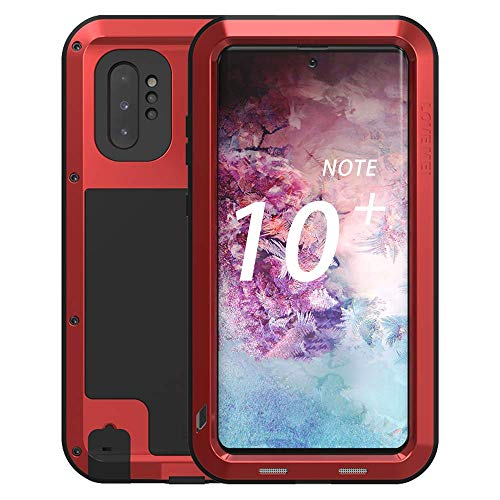 Galaxy Note 10 Plus Case,Bpowe Super Shockproof Silicone Aluminum Metal Armor Tank Heavy Duty Sturdy Protector Cover Hard Case for Samsung Galaxy Note 10 Plus/Galaxy Note 10+ 5G 6.8' 2019 (Red)