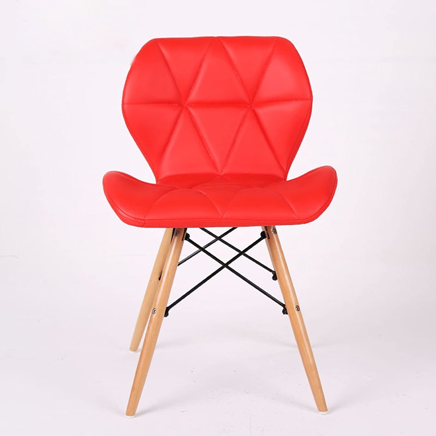 Bar Stool, PU Leather Backrest Office Stool, Kitchen Breakfast Stool, (H45cm  W49cm  37cm),Red