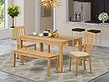 East West Furniture CAAN5C-OAK-C Wooden Dining Set, 5 Piece