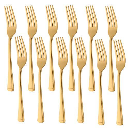 Buyer Star 12 tenedores de postre, vajilla de acero inoxidable dorado para el hogar kichen o restaurante, cubiertos pulido...