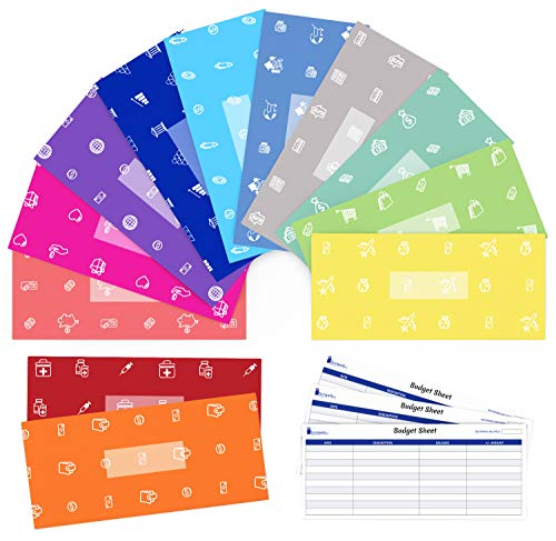 Cash Envelope System for Budgeting and Saving Money by Scrawls Art - 12 Pack - Assorted Colors and Stickers