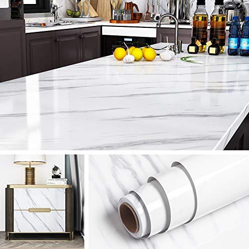 Livelynine 5M X 60 CM Breit Marmor Folie Weiß Grau Klebefolie Tisch Marmorfolie Selbstklebend Dekorfolie für Küche Arbeitsplatte Schminktisch Küchenrückwand Küchen Arbeitsplatten Klebe Folie Möbel