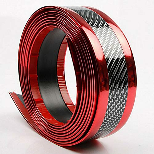 2m * 7cm rode koolstofvezel look autodeur plaat dorpel beschermer anti-kras strip deurplaat dorpel beschermer sticker