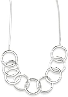 """Lex & Lu Sterling Silver Polished Circle Necklace 18"""""""