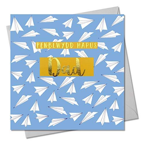 Gelukkige verjaardag wenskaart pa, papieren vliegtuigen, wenskaart met tekst verijdeld in glanzend goud, Pen-blwydd Hapus pap