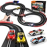 Electric Racing Tracks for Boys and Kids Including 4 Slot Cars 1:43 Scale with Headlights and Dual Racing, Race Car Track Sets with 2 Hand Controllers, Gift Toys for Children Over 8 Years Old