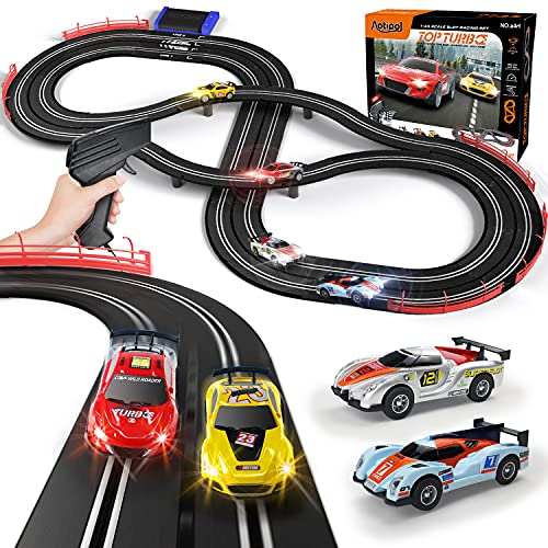 Electric Racing Tracks for Boys and Kids Including 4 Slot Cars 1:43 Scale with Headlights and Dual Racing, Race Car Track Sets with 2 Hand Controllers, Gift Toys for Children Over 6 Years Old