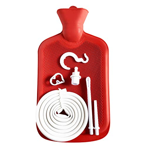 Abyclean Enema Bag Kit Rubber Anal Douche Vaginal Douche Enema Cleaner for Women's or Man's Health (Red, 2L)