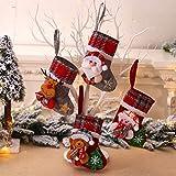 HELEVIA 4 calcetines de Navidad, decoración navideña, bolsa de regalo, bolsa de azúcar, decoración para árbol de Navidad, bordados, calcetines, calcetines, calcetines colgantes