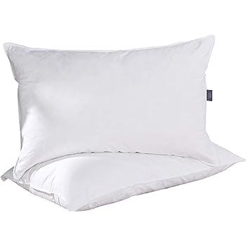 puredown® Almohadas Lavables Blancas Pack de 2 Almohada de Plumas y Plumón de Ganso Antiácaros Funda de 100% Algodón 48x74 cm: Amazon.es: Hogar
