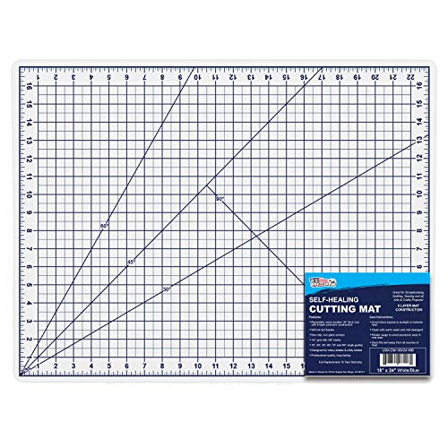 "U.S. Art Supply 18"" x 24"" WHITE/BLUE Professional Self Healing 5-6 Layer Double Sided Durable Non-Slip PVC Cutting Mat Great for Scrapbooking, Quilting, Sewing and all Arts & Crafts Projects"