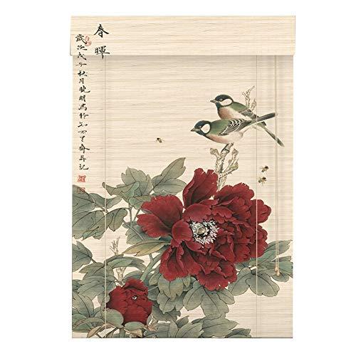 LIANGJUN Store Enrouleur Bambou Rideau Couper Contexte Rideau Décoratif Motif Pivoine Style Chinois Résistant À L'usure, Personnalisable (Couleur : B, taille : 90x200cm)