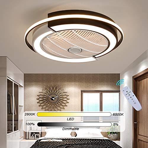 YAOXI Moderne LED Deckenventilator Mit Beleuchtung Und Fernbedienung Leise Dimmbar Einstellbare Windgeschwindigkeit Fan Deckenleuchte Für Schlafzimmer Wohnzimmer Esszimmer,Weiß,D53cm/36W