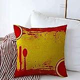 Fundas de Almohada Cuchillo Comida Amarilla Español sobre SPA Membrete Rojo Tapas Paella Almuerzo Restaurante Hispano Estuche de diseño