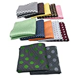 ekSel Paquete de 12 pañuelos cuadrados de bolsillo de lunares para hombre