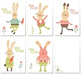 ArtUp.de 10 Osterkarten im Set mit 5 Motiven - Osterpostkarten Grußkarten Postkartenset Ostern Ostereier Hase - lustiges fröhliches Design - modern trendig stilvoll edel fein und exklusiv