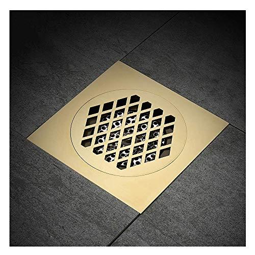 DYR Duschablauf, 15x15cm Super Bigger Bodenablauf Badezimmerablauf Baumaterial Quadratischer Wasserablauf Badezimmerzubehör, Gold T.
