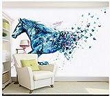 Fototapeten Wand Tapete Wohnzimmer Schlafzimmer-Fantasie Laufendes Pferd Schmetterling Aquarell Hintergrund Dekorative Malerei, 200Cmx140Cm (78,7 X 55,1 Zoll)