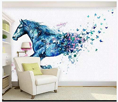 Fototapeten Wand Tapete Wohnzimmer Schlafzimmer-Fantasie Laufendes Pferd Schmetterling Aquarell Hintergrund Dekorative Malerei, 300Cmx210Cm (118.1 Von 82.7 In)