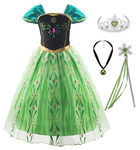 KABETY Mädchen Prinzessin Anna Kleid Schnee königin ELSA Kostüm Party Kleid,3 Jahre (Hersteller Größe:100) ,Grün mit Zubehör